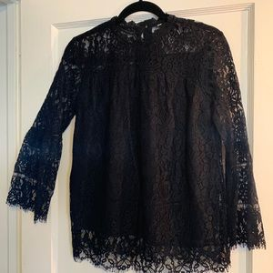NEW! Black Lace Long/Bell Sleeves Blouse!